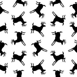 Deer with Antlers Silhouette Pattern