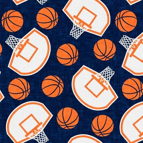basketball hoops and balls - navy and orange - LAD20