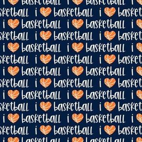 I love basketball - navy - basketball hearts - LAD20