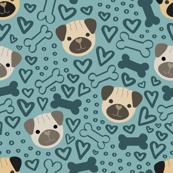 Puggy Love Doodle Pattern