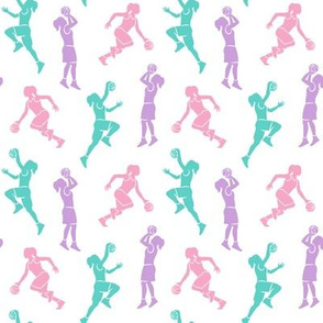 (small scale) women's basketball players - girls basketball - pink, teal and purple - LAD20