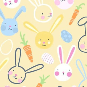 Easter Bunnies with Carrots and Jelly Eggs on Yellow by Angel Gerardo