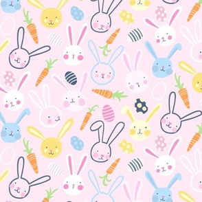 Easter Bunnies with Carrots and Jelly Eggs on Pink- Small Scale by Angel Gerardo