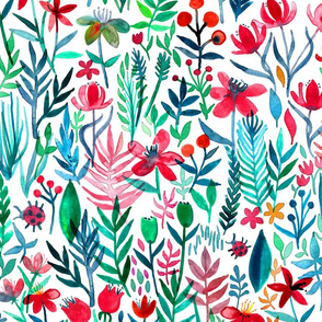 tropical ink watercolor garden on white - large print
