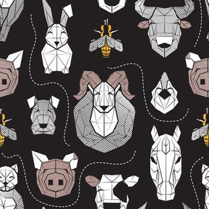 Small scale // Friendly Geometric Farm Animals // black background black and white brown grey and yellow pigs queen bees lambs cows bulls dogs cats horses chickens and bunnies
