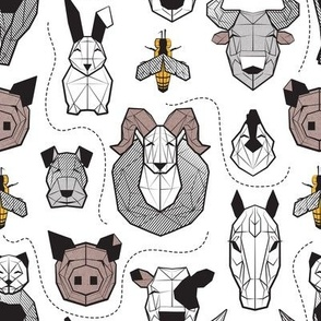 Small scale // Friendly Geometric Farm Animals // white background black and white brown grey and yellow pigs queen bees lambs cows bulls dogs cats horses chickens and bunnies