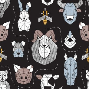 Small scale // Friendly Geometric Farm Animals // black background black and white brown pastel blue and yellow pigs queen bees lambs cows bulls dogs cats horses chickens and bunnies