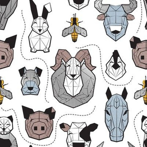 Small scale // Friendly Geometric Farm Animals // white background black and white brown pastel blue and yellow pigs queen bees lambs cows bulls dogs cats horses chickens and bunnies