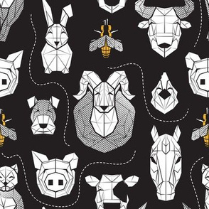 Small scale // Friendly Geometric Farm Animals // black background black and white pigs lambs cows bulls dogs cats horses chickens bunnies  and yellow queen bees