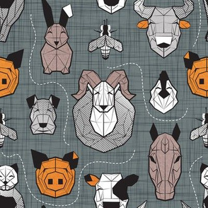 Small scale // Friendly Geometric Farm Animals // black background black and white brown grey and orange pigs queen bees lambs cows bulls dogs cats horses chickens and bunnies