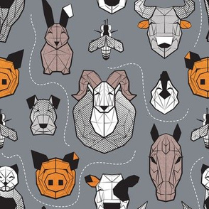 Small scale // Friendly Geometric Farm Animals // grey background black and white brown grey and orange pigs queen bees lambs cows bulls dogs cats horses chickens and bunnies