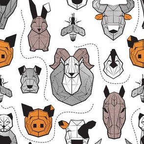 Small scale // Friendly Geometric Farm Animals // white background black and white brown grey and orange pigs queen bees lambs cows bulls dogs cats horses chickens and bunnies