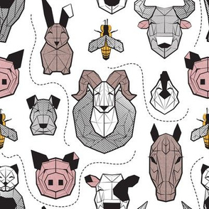 Small scale // Friendly Geometric Farm Animals // white background black and white brown grey yellow and blush pink pigs queen bees lambs cows bulls dogs cats horses chickens and bunnies