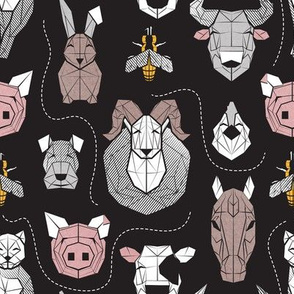 Small scale // Friendly Geometric Farm Animals // black background black and white brown grey yellow and blush pink pigs queen bees lambs cows bulls dogs cats horses chickens and bunnies
