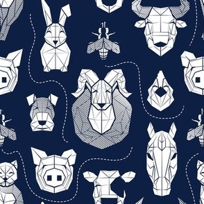 Small scale // Friendly Geometric Farm Animals // navy blue background white pigs queen bees lambs cows bulls dogs cats horses chickens and bunnies
