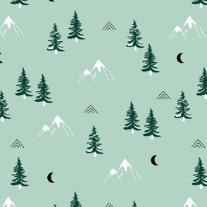 Little mountains and moon pine tree forest nature trip woodland theme mint green