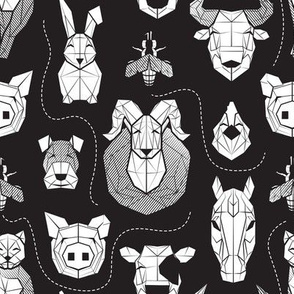 Small scale // Friendly Geometric Farm Animals // black background white pigs queen bees lambs cows bulls dogs cats horses chickens and bunnies