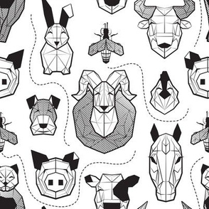 Small scale // Friendly Geometric Farm Animals // white background black and white pigs queen bees lambs cows bulls dogs cats horses chickens and bunnies