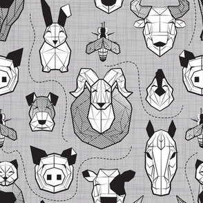 Small scale // Friendly Geometric Farm Animals // linen texture background black and white pigs queen bees lambs cows bulls dogs cats horses chickens and bunnies