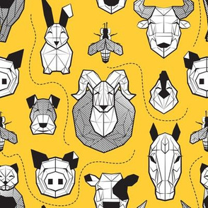 Small scale // Friendly Geometric Farm Animals // sunglow yellow background black and white pigs queen bees lambs cows bulls dogs cats horses chickens and bunnies