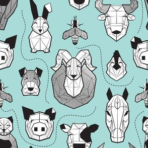 Small scale // Friendly Geometric Farm Animals // aqua background black and white pigs queen bees lambs cows bulls dogs cats horses chickens and bunnies