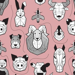 Small scale // Friendly Geometric Farm Animals // blush pink background black and white pigs queen bees lambs cows bulls dogs cats horses chickens and bunnies