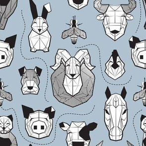 Small scale // Friendly Geometric Farm Animals // pastel blue background black and white pigs queen bees lambs cows bulls dogs cats horses chickens and bunnies