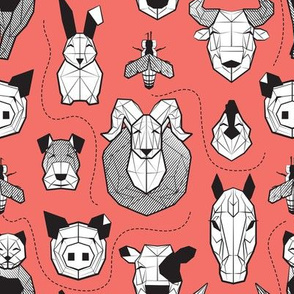 Small scale // Friendly Geometric Farm Animals // coral background black and white pigs queen bees lambs cows bulls dogs cats horses chickens and bunnies