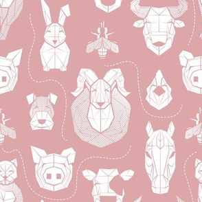 Small scale // Friendly Geometric Farm Animals // blush pink background white pigs queen bees lambs cows bulls dogs cats horses chickens and bunnies