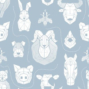 Small scale // Friendly Geometric Farm Animals // pastel blue background white pigs queen bees lambs cows bulls dogs cats horses chickens and bunnies