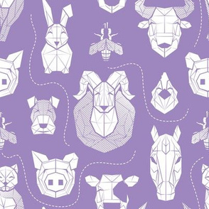 Small scale // Friendly Geometric Farm Animals // violet background white pigs queen bees lambs cows bulls dogs cats horses chickens and bunnies