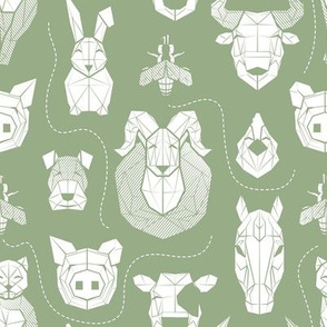 Small scale // Friendly Geometric Farm Animals // sage green background white pigs queen bees lambs cows bulls dogs cats horses chickens and bunnies