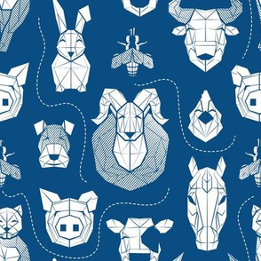 Small scale // Friendly Geometric Farm Animals // classic blue background white pigs queen bees lambs cows bulls dogs cats horses chickens and bunnies