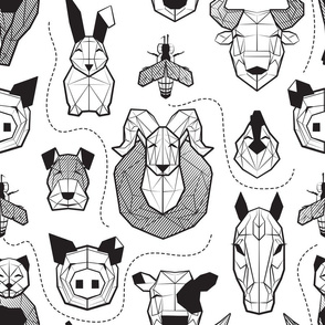 Normal scale // Friendly Geometric Farm Animals // white background black and white pigs queen bees lambs cows bulls dogs cats horses chickens and bunnies