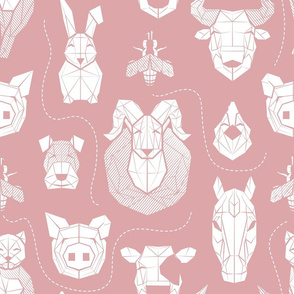 Normal scale // Friendly Geometric Farm Animals // blush pink background white pigs queen bees lambs cows bulls dogs cats horses chickens and bunnies