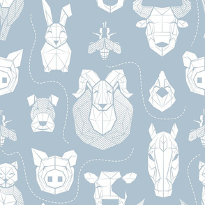 Normal scale // Friendly Geometric Farm Animals // pastel blue background white pigs queen bees lambs cows bulls dogs cats horses chickens and bunnies