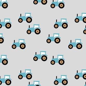 Little tractor farm machine and retro vehicles farmer car bright blue yellow red