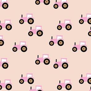 Little tractor farm machine and retro vehicles farmer car soft creme beige pink girls