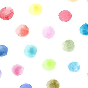 Watercolor rainbow polka dot ★ painted colorful dots for modern nursery