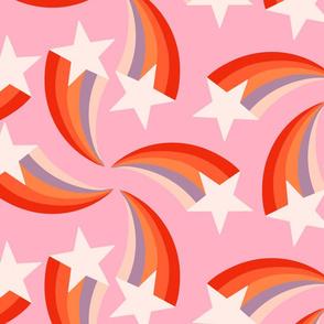 retro rainbow shooting star pink XL  by Pippa Shaw