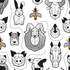 Small scale // Friendly Geometric Farm Animals // white background black and white pigs lambs cows bulls dogs cats horses chickens bunnies and yellow queen bees