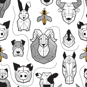 Normal scale // Friendly Geometric Farm Animals // white background black and white pigs lambs cows bulls dogs cats horses chickens bunnies and yellow queen bees