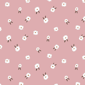 ditsy daisy fabric - simple floral fabric, prairie fabric - powder pink sfx1611