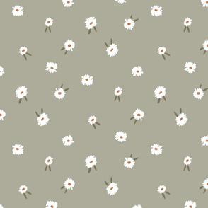 ditsy daisy fabric - simple floral fabric, prairie fabric - sfx0110 sage