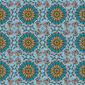 Blue Batik Mandala Flower
