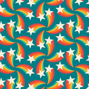 retro rainbow shooting stars teal L  by Pippa Shaw