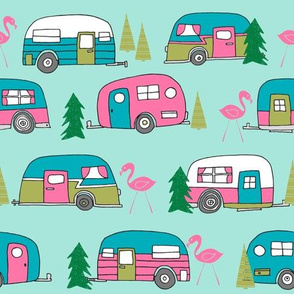 LARGE vintage camper // mint and pink vintage campervan fabric cute retro flamingo pattern print andrea lauren design
