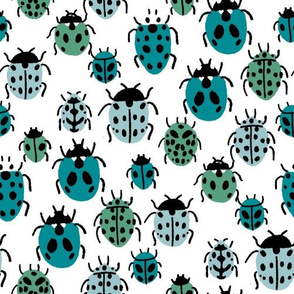 Ladybird fabric - ladybug fabric, nature fabric, spring fabric, bugs and insects fabric -  blue green