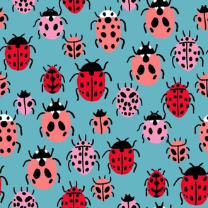 Ladybird fabric - ladybug fabric, nature fabric, spring fabric, bugs and insects fabric - slate blue