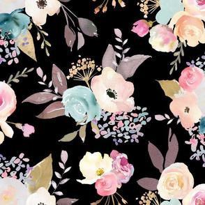 Dusty Pink and Blue Watercolor Floral // Black